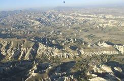 Air balloons, Bird`s eye view. Air Balloons in Cappadocia, Ancient Region of Anatolia, Bird`s Eye View stock photo