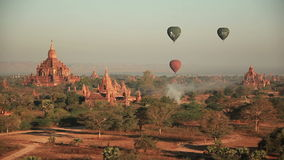 Air Balloons Buddhist Temples Bagan stock footage