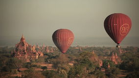 Air Balloons Buddhist Temples stock video footage