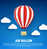 Air balloons with clouds. Isolated on blue sky Stock Image