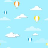 Air balloons in the clouds - seamless illustration Royalty Free Stock Photos