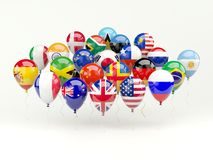 Air balloons with flags Royalty Free Stock Photo