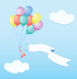 Air Balloons flies with banner. Air Balloons flies with banner for your text on a background of sky with cloud. Vector illustration Stock Images