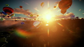 Air balloons flying above lake surrounded by mountains, beautiful sunrise, camera lifting stock video