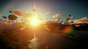 Air balloons flying above lake surrounded by mountains, beautiful sunset, tilt vector illustration