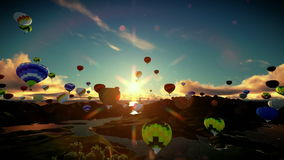 Air balloons flying above lake surrounded by mountains, beautiful sunset, travelling shot stock footage