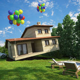 Air balloons flying house Royalty Free Stock Images