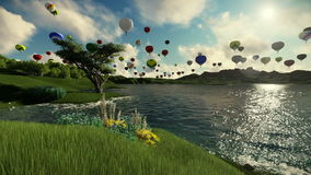 Air balloons flying over beautiful lake and green meadow surrounded by mountains vector illustration