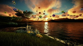 Air balloons flying over beautiful lake and green meadow surrounded by mountains, sunrise stock video