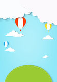 Air balloons flying over land. EPS10. Contains transparent objects used for shadows drawing Royalty Free Stock Image