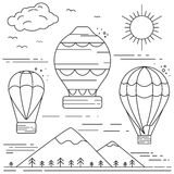 Air balloons flying in the sky above the mountains, balloon fiesta. Thin line flat illustration, vector Royalty Free Stock Images