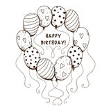 Air balloons frame with text for birthday party. Stock Photo