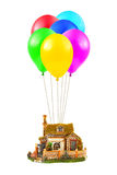 Air balloons and house Stock Photography