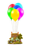 Air balloons and house Stock Images