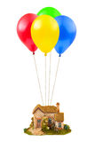 Air balloons and house Royalty Free Stock Images