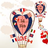 Air balloons with international flags and hearts Valentine's gre. Etings Royalty Free Stock Image