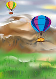 Air-balloons and mountains. This image is a vector illustration and can be scaled to any size without loss of resolution. This image will download as an EPS file Stock Photo