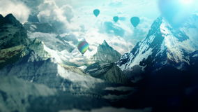 Air balloons in mountains stock footage