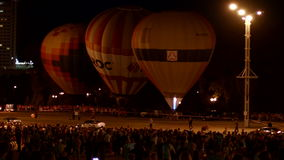 Air balloons in the night stock video footage