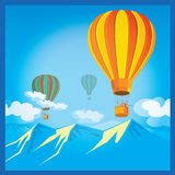 Air Balloons over the mountains Royalty Free Stock Photography