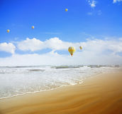 Air balloons over the sea Royalty Free Stock Images