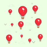 Air balloons. Red air balloons and birds pattern stock illustration