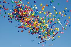 Air-balloons in the sky. Small air-balloons in a blue sky Stock Photography