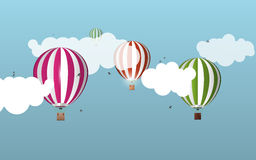 Air balloons in the sky. Landscape. Vector illustration Stock Images