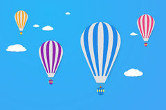 Air balloons in the sky. Modern flat design style. Simple vector icons. Stock Photography