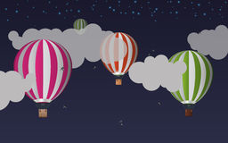 Air balloons in the sky. Night. Vector illustration Stock Photography