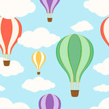 Air balloons in the sky. Seamless pattern Stock Photo