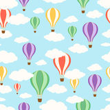 Air balloons in the sky. Seamless pattern Royalty Free Stock Images