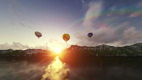 Air balloons at sunrise stock video