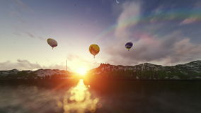 Air balloons at sunset stock video footage