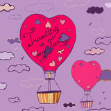 Air Balloons Travel 03 A. Flying balloons in a shape of heart hand drawn image. Beautiful vector illustration in violet and pink colours. Travelling is my love Royalty Free Illustration