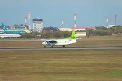 Air Baltic Fokekr 50 landing Stock Image