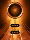 Air bass guitar and loudspeaker. Over Golden Glowing Background with Waves Stock Image