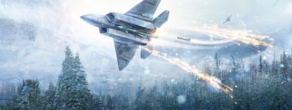 Air battle of two fantastic aircraft. An air battle of two fantastic aircraft in the in winter sky in the mountain landscape. Digital paint, raster illustration stock photos