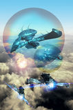 Air battle. Two fighters attack  two large spaceships that are protected by magnetic shields Royalty Free Stock Photos