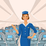 Air beautiful hostess. Stewardess holding ticket in her hand. Woman in official clothes Stock Images