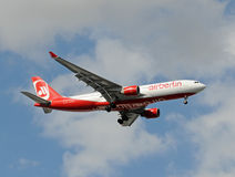 Air Berlin Airbus A-330 landing in Miami Stock Photography