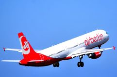 Air berlin aircraft in elevation Stock Photography