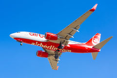 Air Berlin aircraft landing on the airport Stock Photos