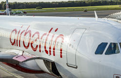 Air berlin aircraft stands at the new terminal in Hamburg Royalty Free Stock Image