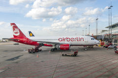 Air berlin aircraft stands at the new terminal in Hamburg Stock Photos