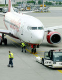 Air Berlin airplane get a check up. Air Berlin airplanes last check before flight Royalty Free Stock Image