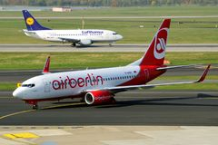 Air Berlin Boeing vs. Lufthansa Boeing Stock Photography
