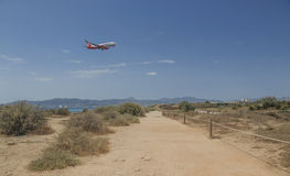 Air Berlin jetliner descending in Palma de Mallorca Stock Photo