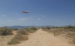 Air Berlin jetliner descending in Palma de Mallorca. Balearic islands, Spain Stock Photo