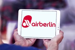 Air Berlin logo. Logo of Air Berlin on samsung tablet. Air Berlin is Germany second largest airline and Europe tenth-largest airline in terms of passengers stock photography